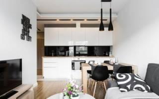 Дизайн гостиная с кухней в современном стиле