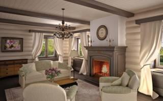 Гостиная в деревянном доме дизайн
