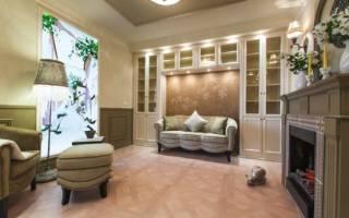 Дизайн гостиной без окон