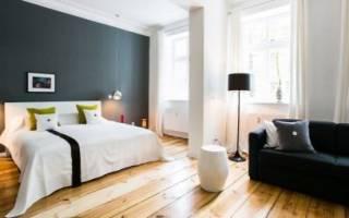 Гостиная с кроватью и диваном дизайн