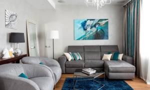 Дизайн бело серой гостиной