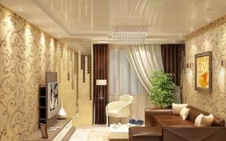 Дизайн гостиной бежевые обои