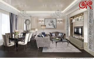 Большая гостиная комната дизайн